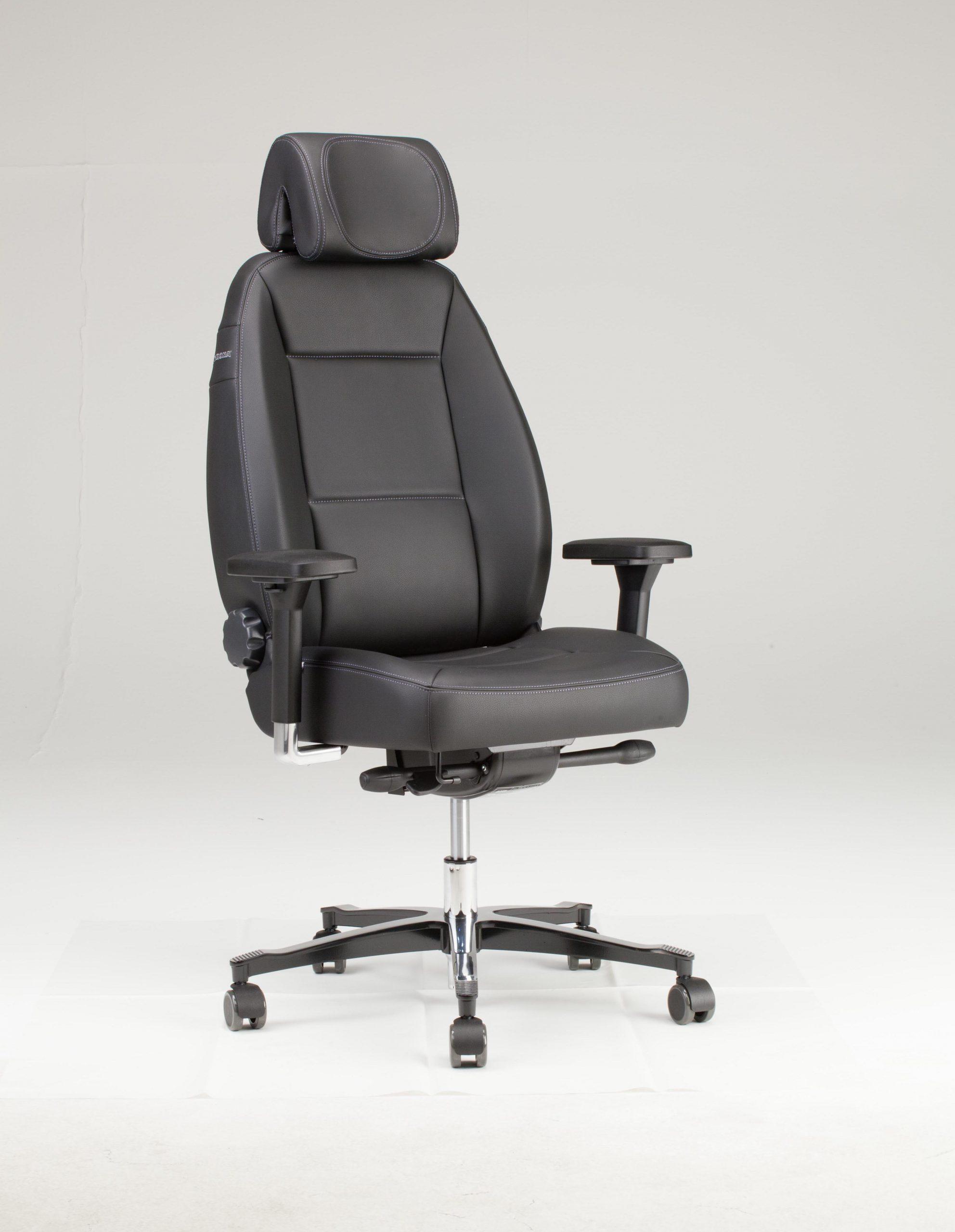 24 uur bureaustoel Throna met 3 D hoofdsteun en 4D armleuningen